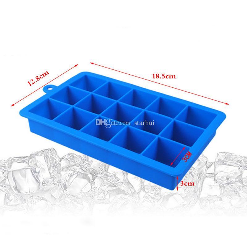 15 la red de bricolaje creativo del cubo de hielo del molde forma cuadrada bandeja de hielo del enrejado silicón de la fruta vegetal puro Bloque de hielo Batido Aperitivo congelado WX9-180