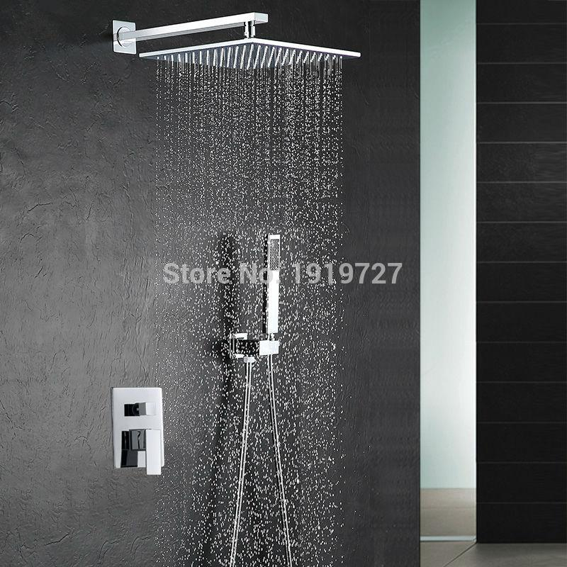 2018 10 Inch Shower Head Luxury Wall Mounted Square Style Brass Waterfall  Shower Set Factory Direct New Rainfall Bathroom Shower Kit From Motocyle,  ...