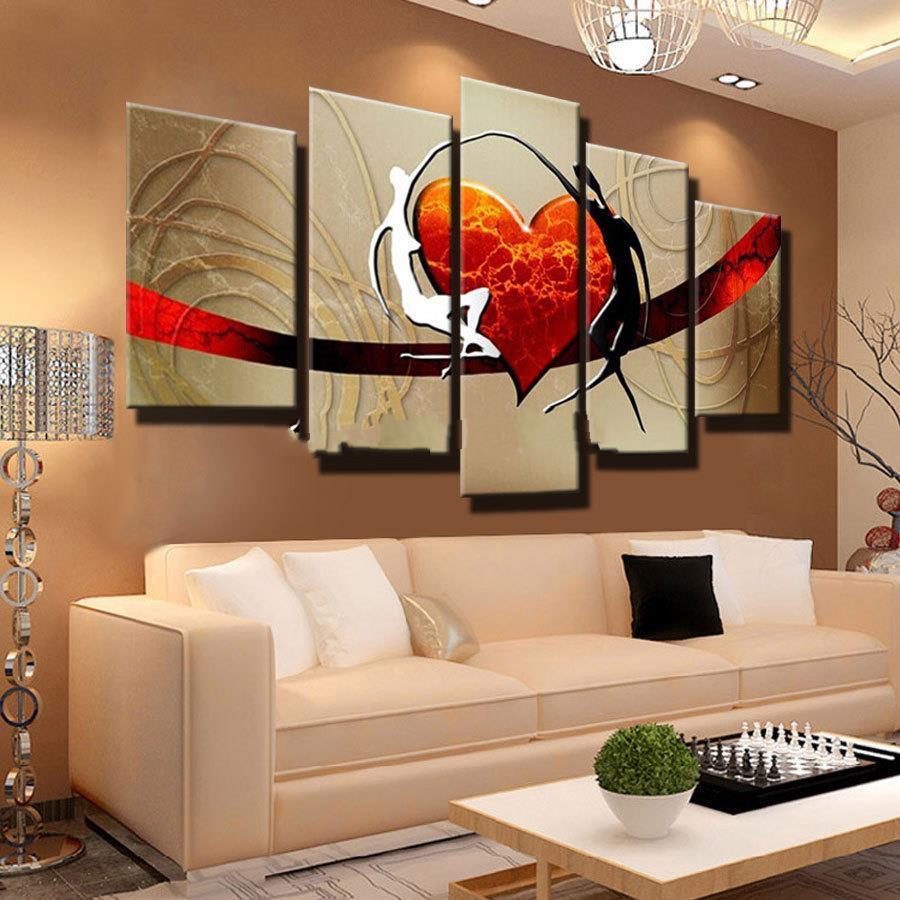 Compre Pintura Al Óleo Abstracta Moderna Del Par De Familia Canvas ...