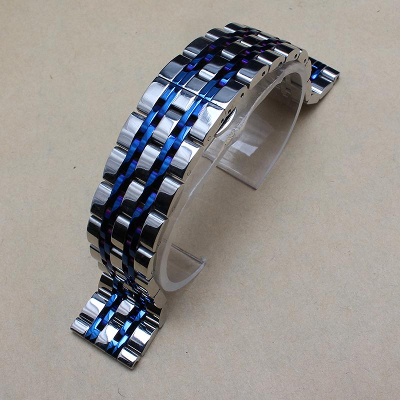 Watches Bands Fit Brand Metal Watch Silver With Blue ...