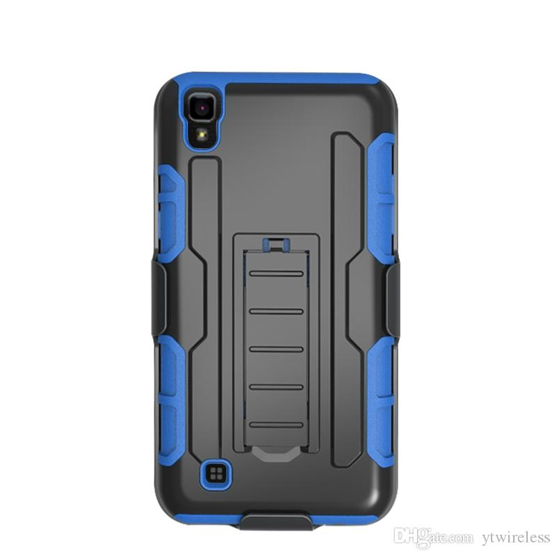 For LG X Power ZTE Warp 7 LG Stylo 2 Plus LG K7 K10 Hybrid Kickstand Robot Combo Holster Case with Belt Clip