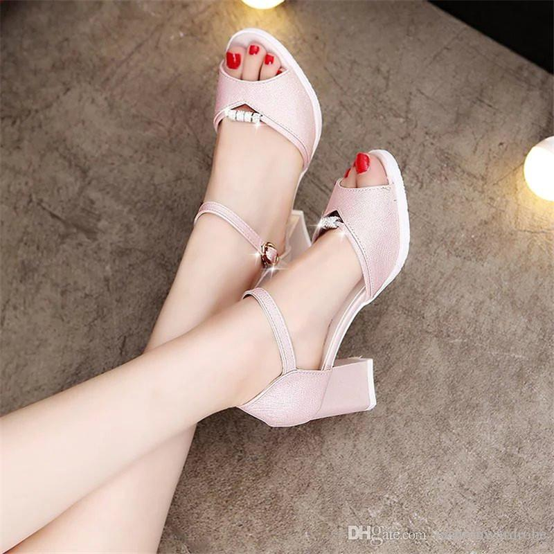 f48f28032165c4 Women s Shoes Square High Heel Shining Charm Design Chunky Pumps Sexy Ankle  Strap Summer Sandals Square Heels Pumps Peep Toe Ladies Sandals Women s  Shoes ...