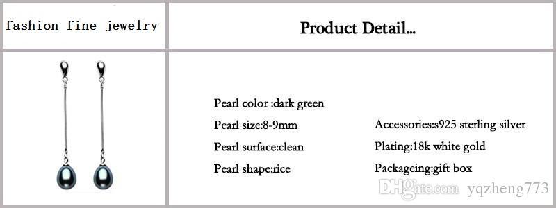 neue Art und Weise natürliche Perle Tropfen Ohrringe 925 Silber lange Ohrringe für Frauen mit 3 Farbe