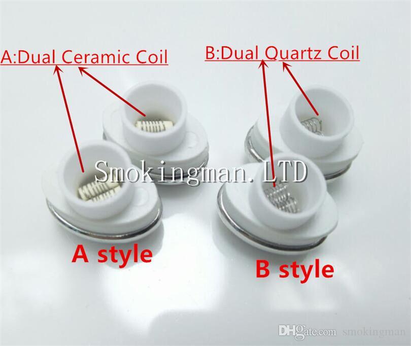 Quartz Wax Ceramic Dual Coil Replacement Core Atomizer For Wax Vaporizer Pen Quartz Rod for Elips Cloud Pen micro g pen DHL free ship