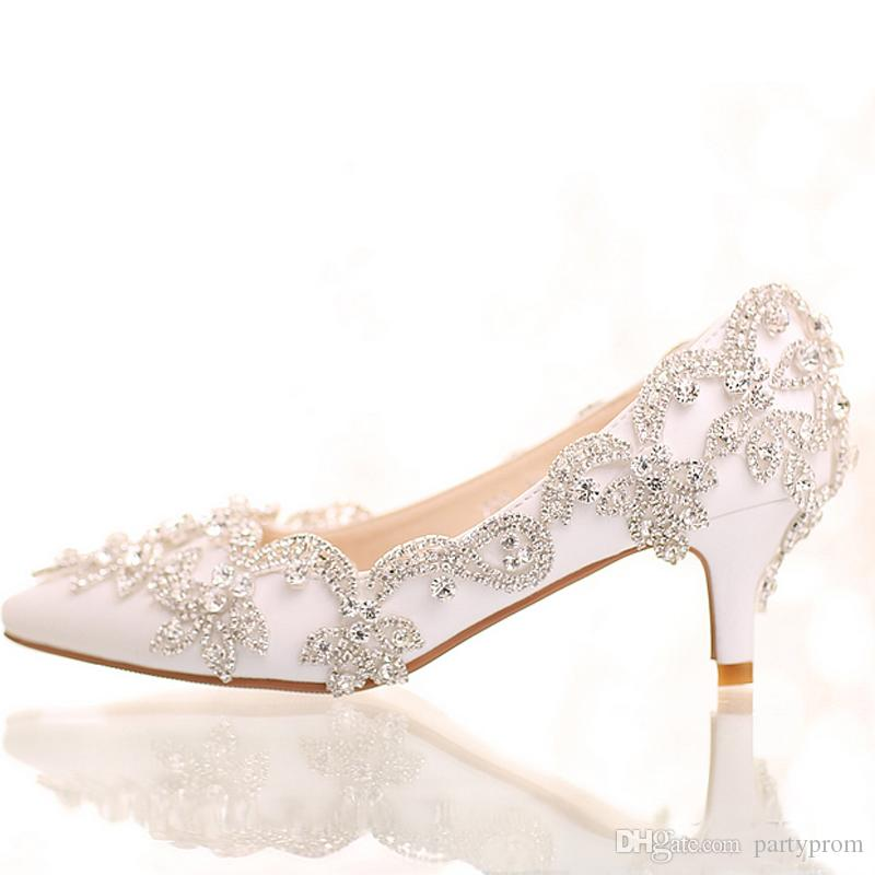 9731e9c26ee Exquisite Rhinestone Bridal Shoes Pointed Toe And Round Toe Platform White  Color Wedding Shoes With Silver Rhinestone Prom Pumps Wedding Shoes Direct  ...