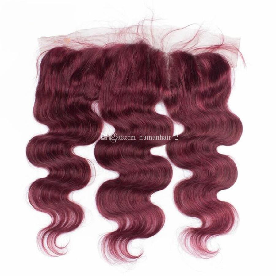 Brasileira Borgonha Cabelo Humano 3 Pacotes com Rendas Frontal 99J Vinho Onda Do Corpo Vermelho cabelo com Orelha A Orelha Cheia Do Laço Frontals