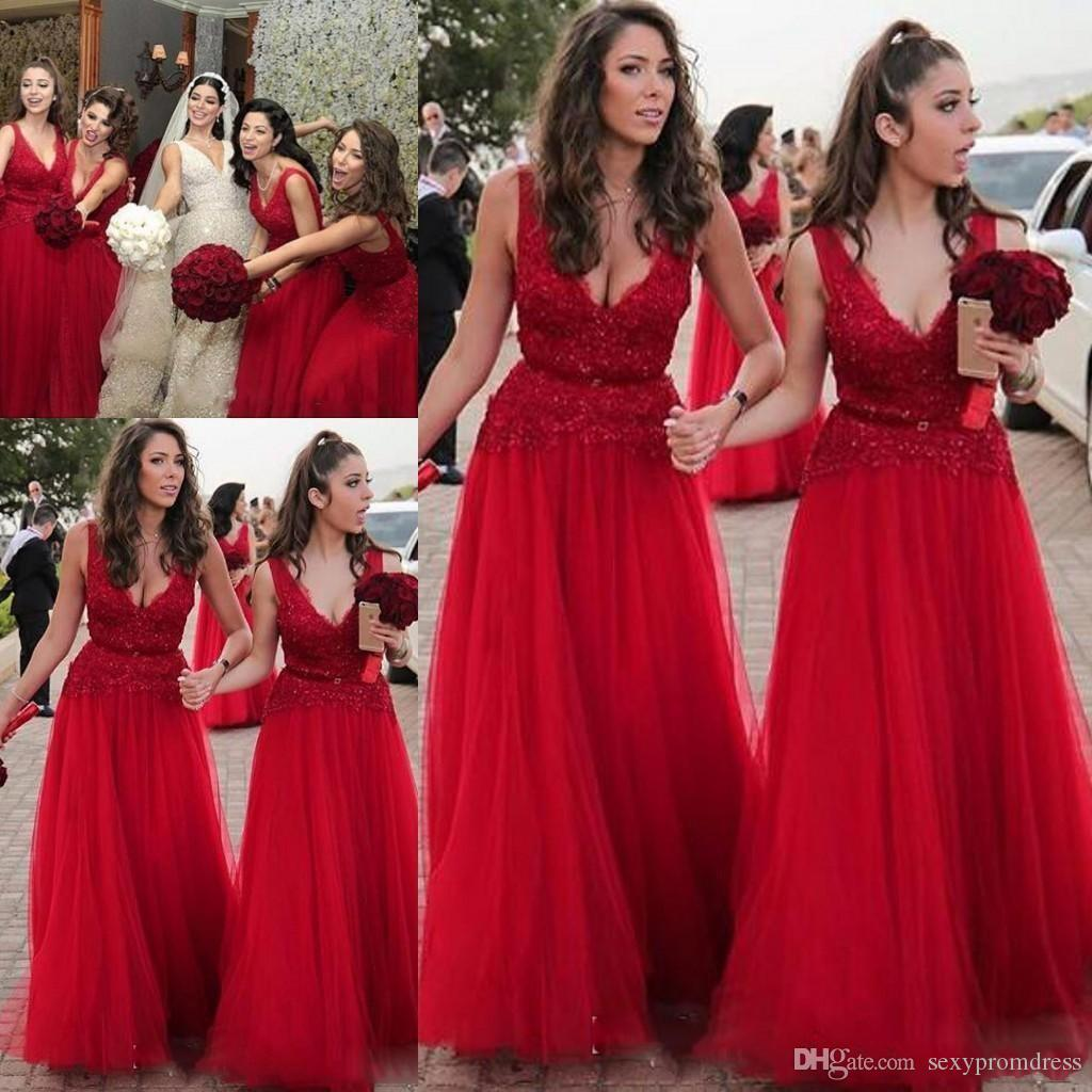 b12be5f2c75 Red Deep V Neck Long Bridesmaid Dresses 2017 Lace And Tulle A Line Maid Of  Honor Gowns For Wedding Customized Formal Party Dresses Bridesmaid Dresses  Cheap ...