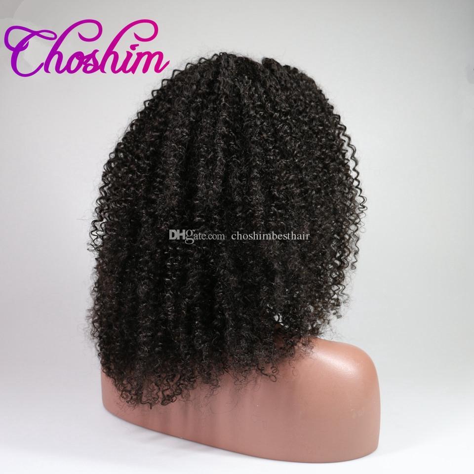 Choshim KL Parte Dianteira Do Laço Do Cabelo Humano Perucas Afro Crespo Encaracolado Cor Natural Remy Do Cabelo Do Brasil Perucas de Renda Para As Mulheres Negras Com Cabelo Do Bebê
