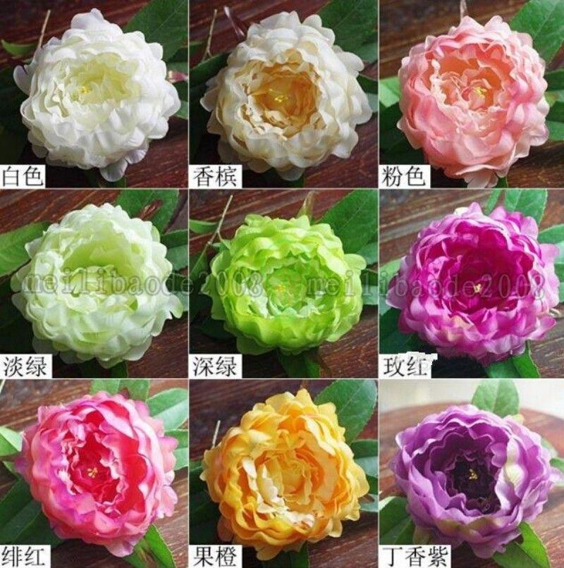 New Arrival Upscale Artificial Silk Peony Flower Heads DIY Craft Ornament Dia 12cm Wedding Bridal Bouquet Headwear Accessories MYY