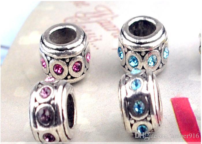Moda Aksesuarları Charm Gümüş kaplama Tam Elmas Büyük Delik Gevşek Boncuk Pandora DIY Takı Bilezik Avrupa Boncuklu FIT Bilezik Kolye