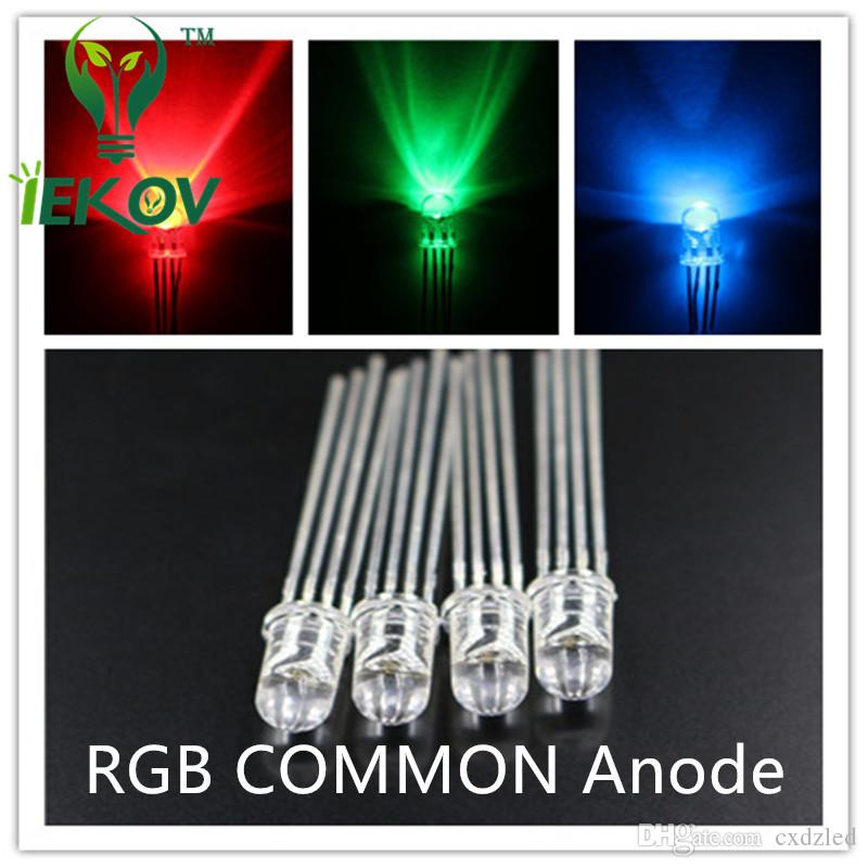 /bag LED 5mm 4Pin Tri-Color RGB Red Green Blue COMMON Anode 4Pins Tri Color Emitting Diodes F5 RGB Water Clear LEDs LIGHT