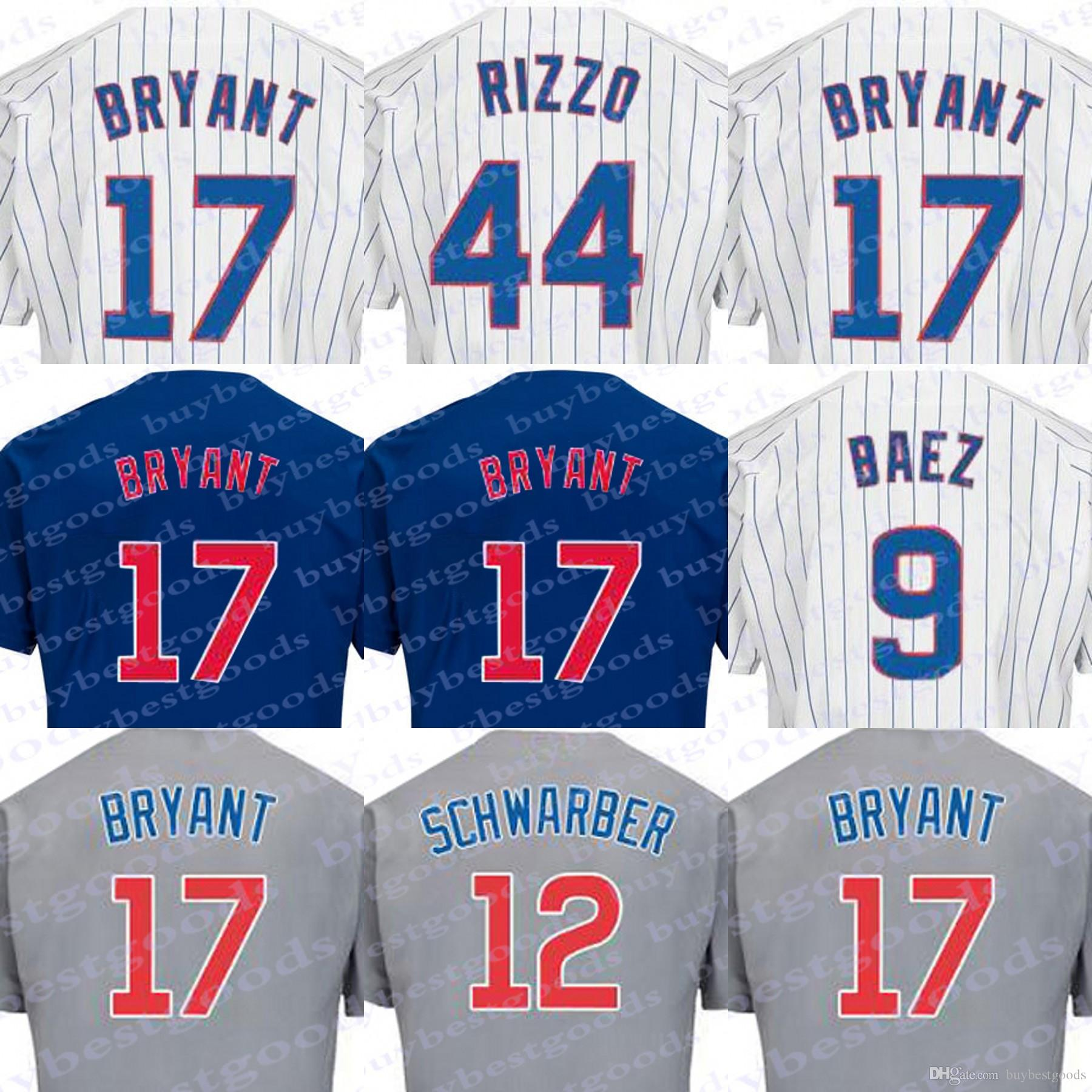 2018 chicago flexbase jerseys 17 44 9 javier baez 12 kyle schwarber 2016 baseball white blue grey je