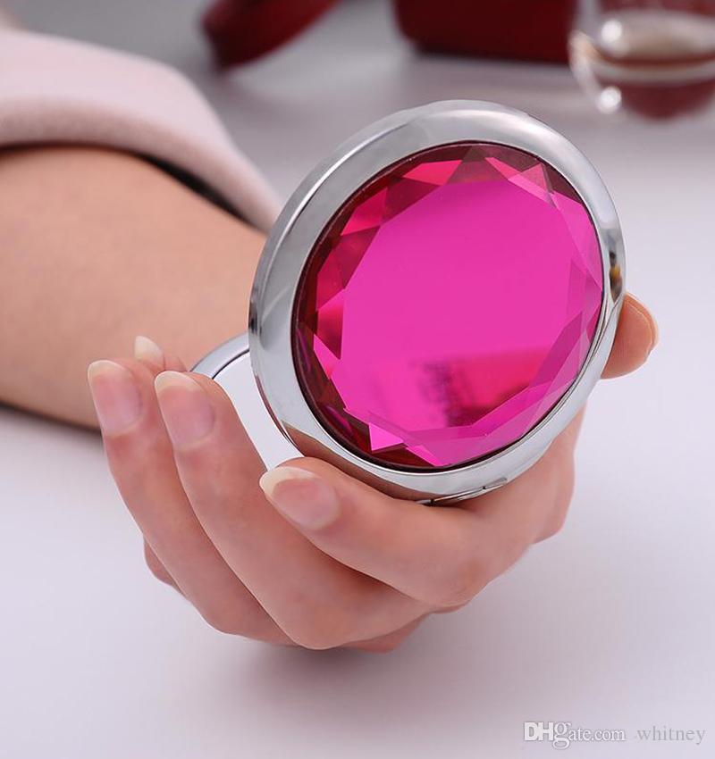 Hot! Cosmétique Compact Miroir Gratuit Gravure Cristal Graves Graves Multi Couleur Maquillage Miroir Mariage Faveur cadeau Livraison Gratuite