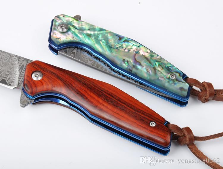 Cuchillo plegable táctico NEW VOLTRON Hoja importada Acero de Damasco Tratamiento con mango de luz de arena Sándalo rojo Sándalo rojo conchas de abulón