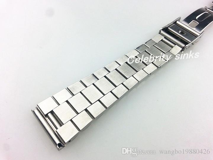 20mm 버클 16mm 새로운 고품질 순수 고체 스테인레스 스틸 광택 + 닦 았 시계 밴드 스트랩 팔찌