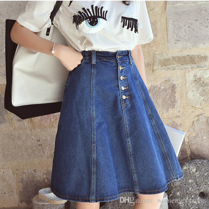 2017 2016 New Arrival Denim Skirts Womens A Line Jeans Front ...