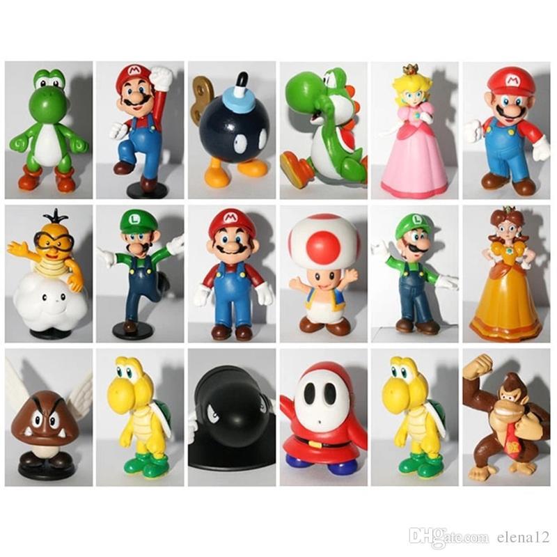 Super Mario mini figure dolls PVC dinosaur yoshi donkey kong Mushroom action figues game toys for children Christmas gift 100108