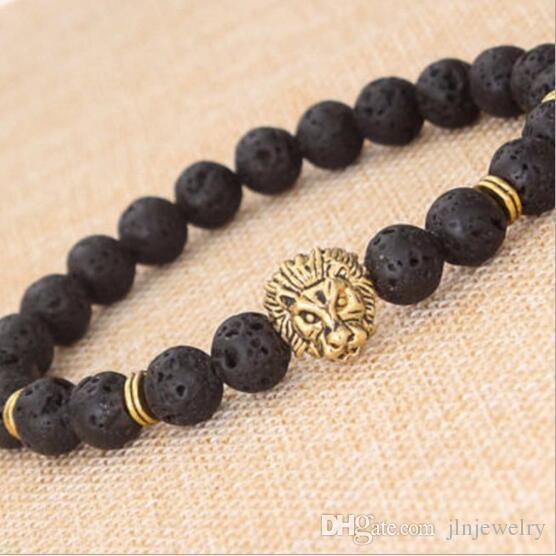 JLN naturel Lava / volcanique Bouddha Lion Tête de lion Bracelet perle noire Lava Pierre Bracelets Hommes Femmes Bijoux Corde Bracelet chaîne Strand
