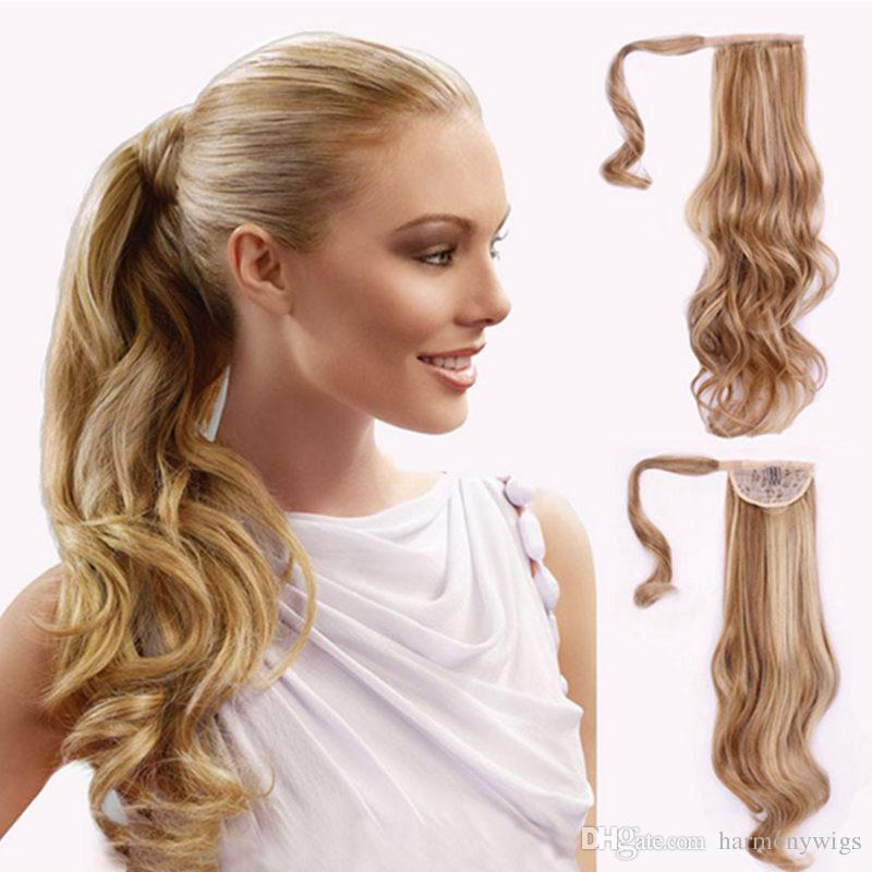 Clip Ponytail Hair Extensions Synthetic Curly Wavy Hair Pieces