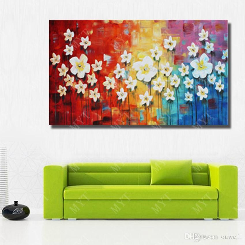 Hand drawing flower tree pictures no framed nice design bright color abstract canvas flower oil painting