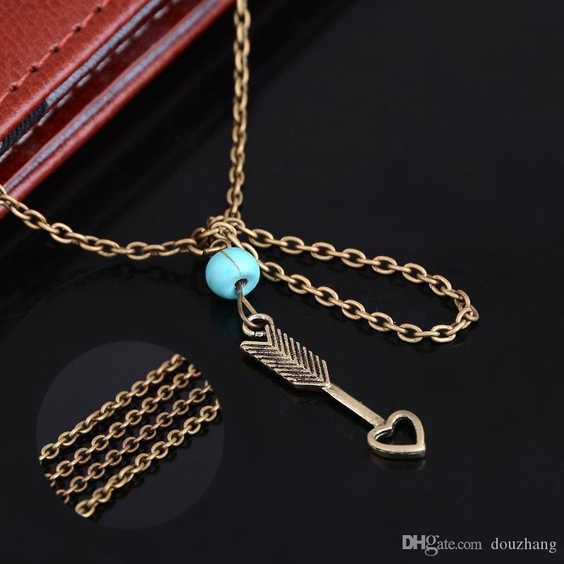 Cadena de Esclavo romántico del grano de Cupido Flecha Pulseras para Mujer Vintage Accesorios de Muñeca Dedo Pulseras Lotes 12 Unids