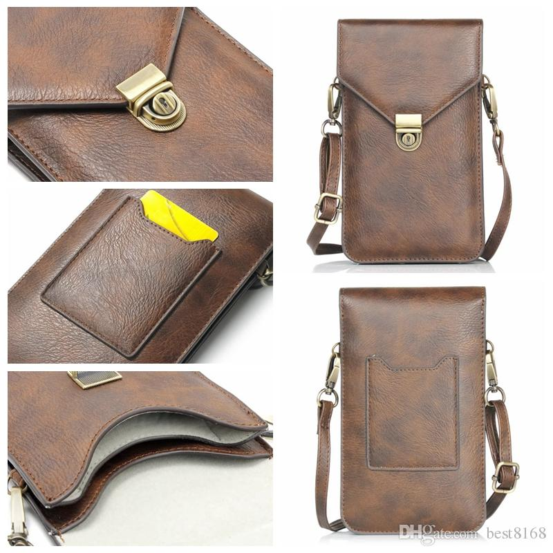 For Iphone XR XS MAX 10 X 7 6 Galaxy Note 9 8 5 S9 10.5*18CM Flip Shoulder Bag 6.3inch Universal Universal Purse Rhinoceros PU Leather Pouch