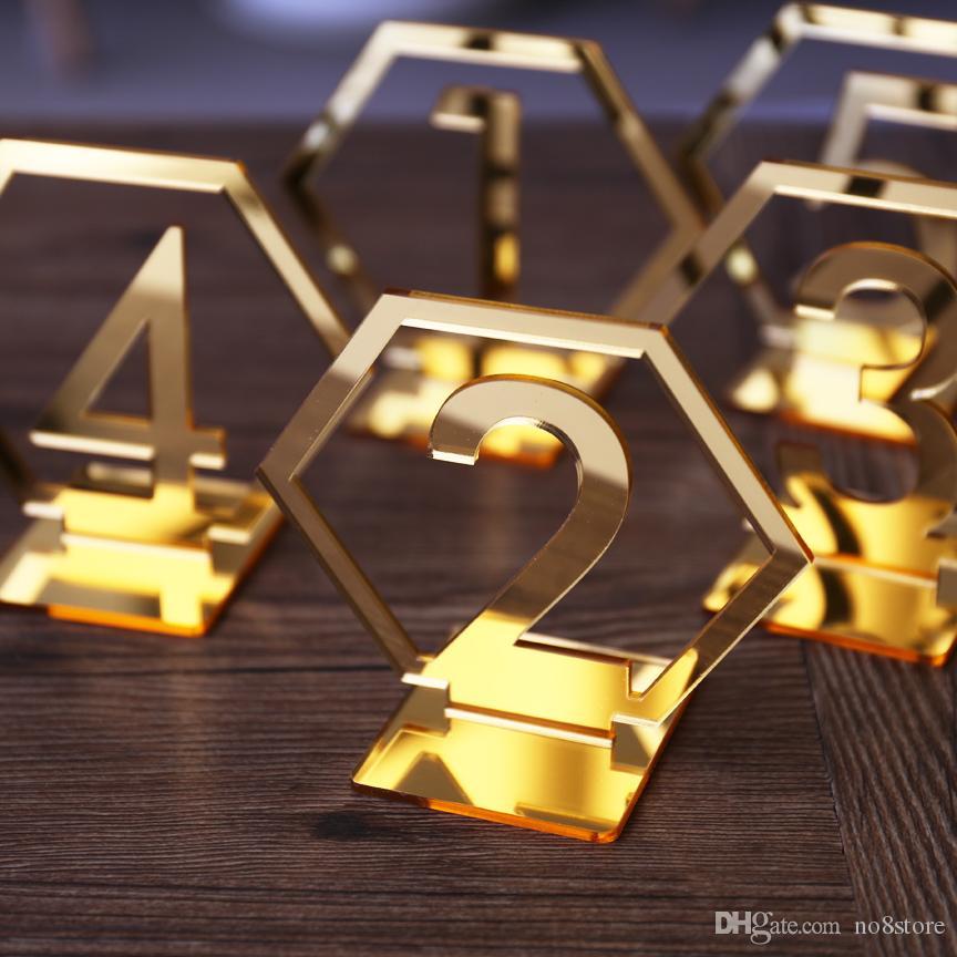 Großhandel Schwarz Spiegel Gold Silber Acryl Tischnummer Hochzeit Geburtstag Jahrestag Event Party Dekoration Tablue Nummer Halter Von No8store