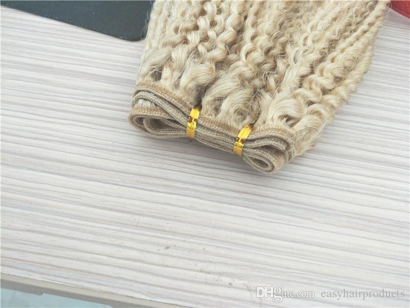 # 613 loira afro kinky curly lace frontal com 3 bundles brasileiro virgem extensões de cabelo humano sem derramamento