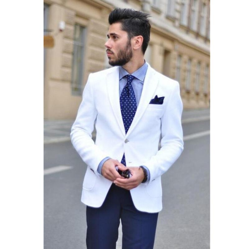 Wholesale- NoEnName_Null 2017 New White Mens Suits Blazer With Navy Blue  Pants Bespoke Notched Lapel Terno Grooms Tuxedos Men Suit 2 Piece Mens Suits  White ...