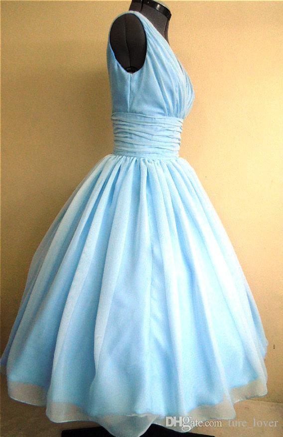 50s style dress with light sky blue Silk chiffon overlay V-Neck flattering for all sizes 83 Real Photos 50s Style Dresses Light Sky Blue S