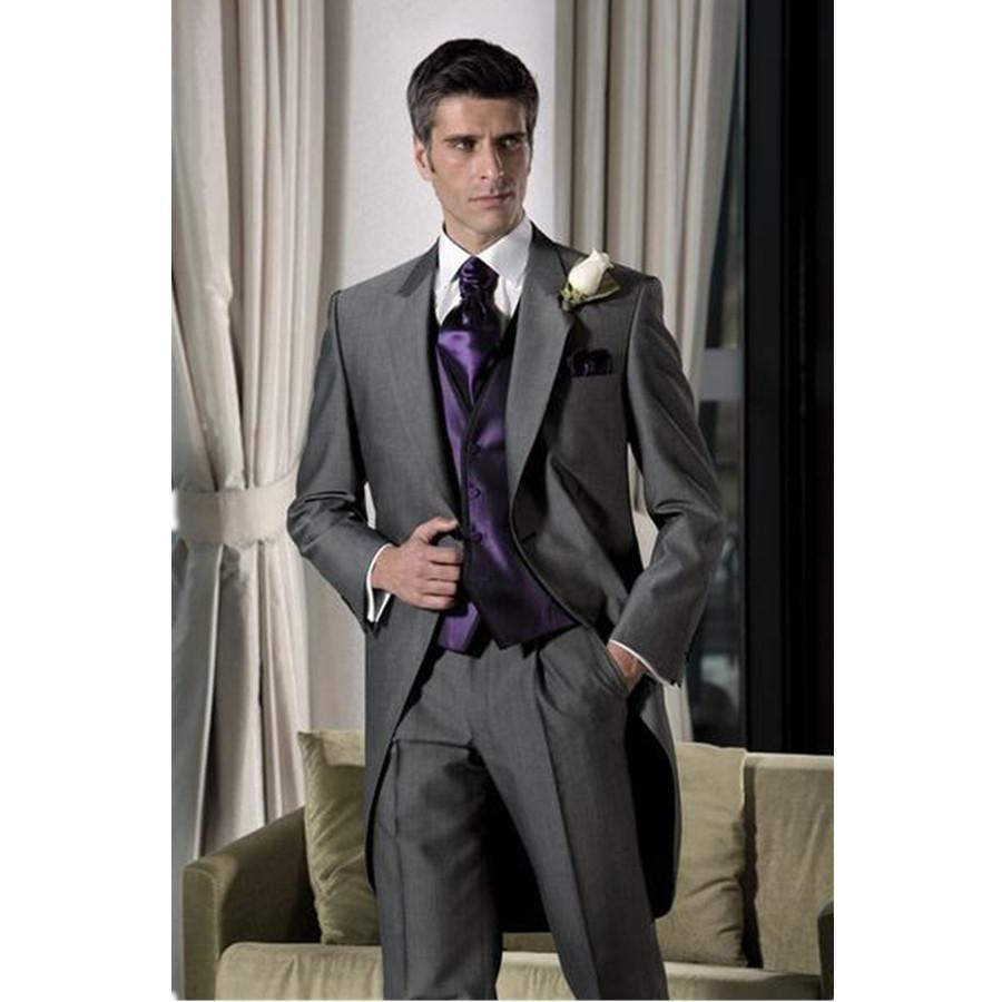 Calidad superior Custom-tailor Novio Tuxedos Novio Best Man Suits Jacket + Pants + Vest hombres blazer vestido traje de boda para hombre