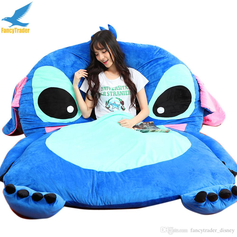 discount fancytrader giant stuffed cartoon stitch sofa bed beanbag sleeper sleeping bag with padding patio furniture kids play mats 3 models gift from china