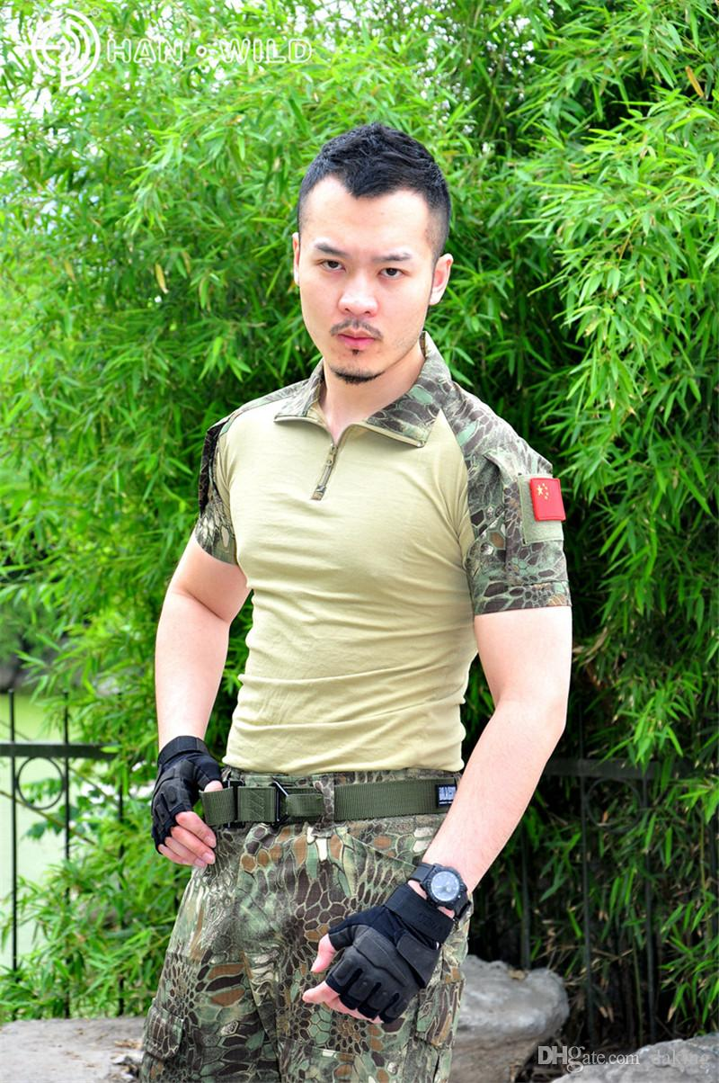 Summer Russia Soldiers Brave men Jungle Activities short sleeve Camo T-shirt brown green Python pattern Serpentine print Splice Casual Tops