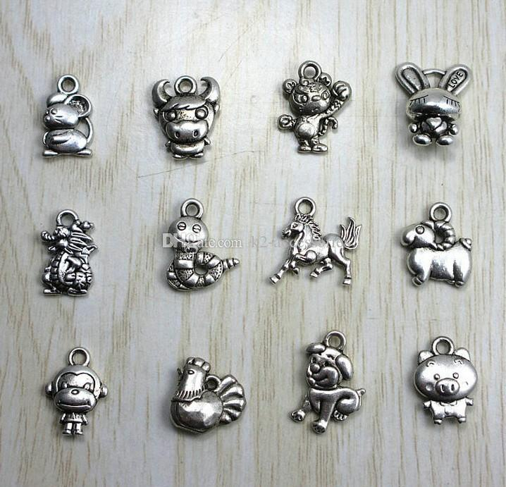 Chinese Zodiac 12 animals Charm Tibet silver Beads Pendant for Bracelet Necklace Chain