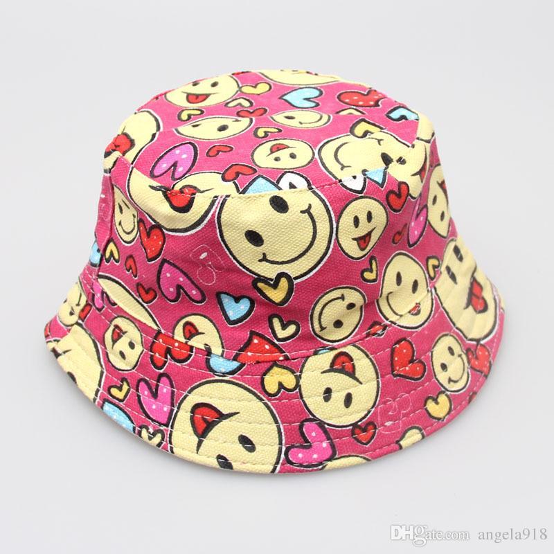 30 스타일 만화 꽃 인쇄 그림 아이 소녀 태양 모자 다채로운 아기 양동이 모자 캔버스 어린이 비 니 모방 모자 모자 E941