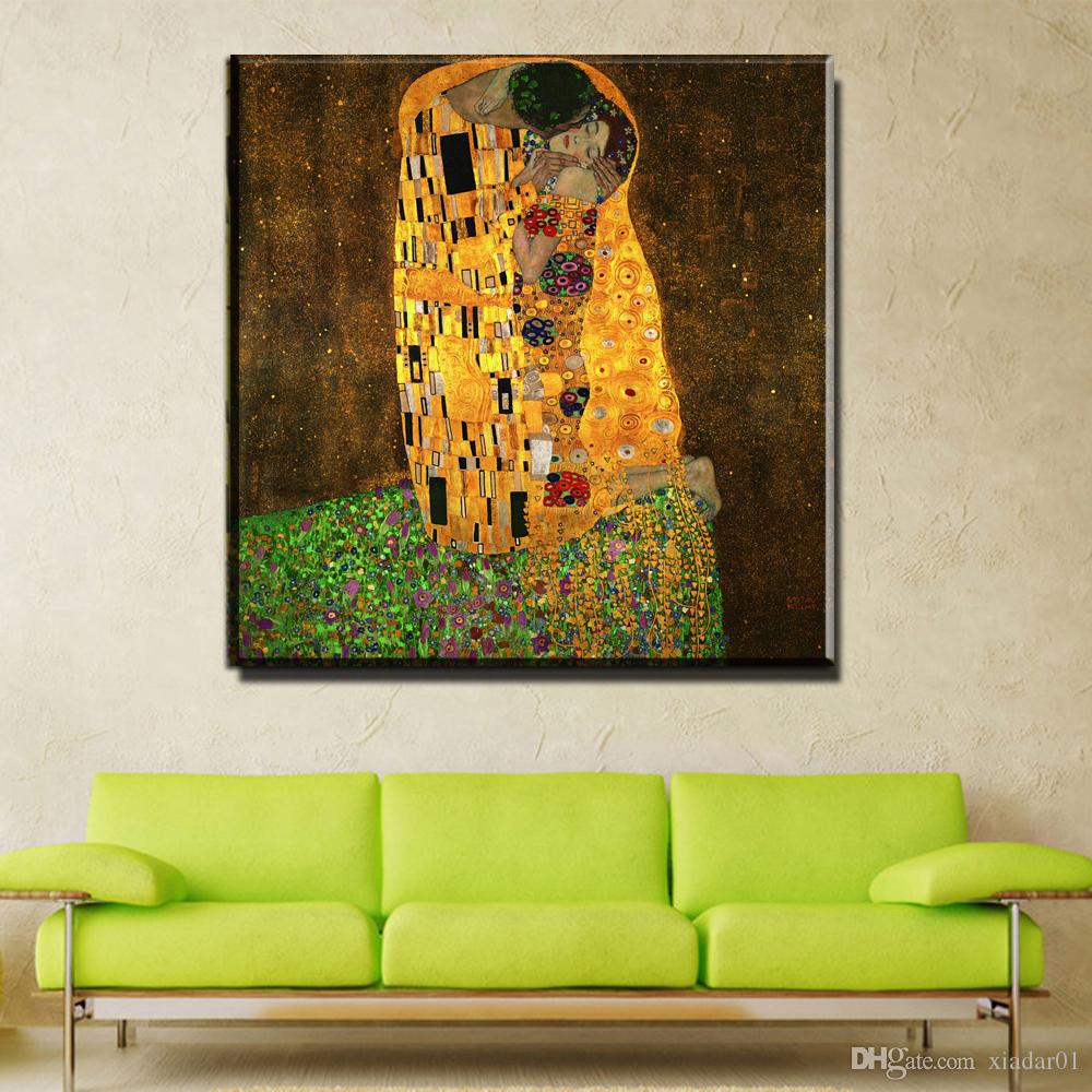 ZZ743 Gustav Klimt the kiss Oil Painting on Canvas Pictures For Living Room Wall Art Cuadros Decoracion Modular Wall Paintings