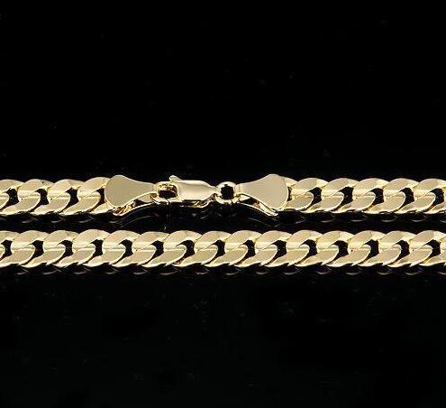 Collana a catena a maglie cubane placcate in oro giallo 14 kt da uomo 14 mm. 10 mm