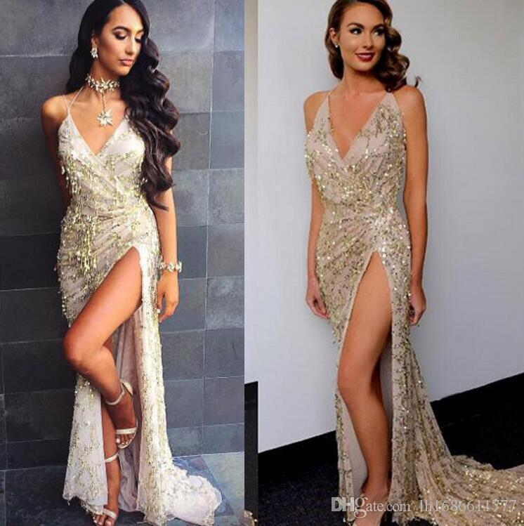 Nachtclub-Kleid elegant Partei-Kleider 2017 Frauen vestidos de festa Frauen sexy Kleider Goldsequins lange Abendkleid Maxikleid