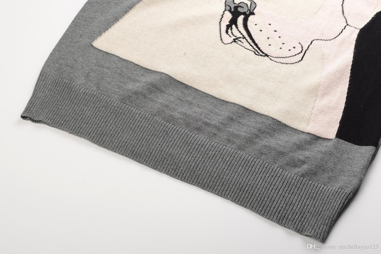 Envío Gratis 2017 Gris Flores Perros Jacquard Tejer Pullover Mujeres Marca Mismo Estilo Suéteres de las mujeres DH0162
