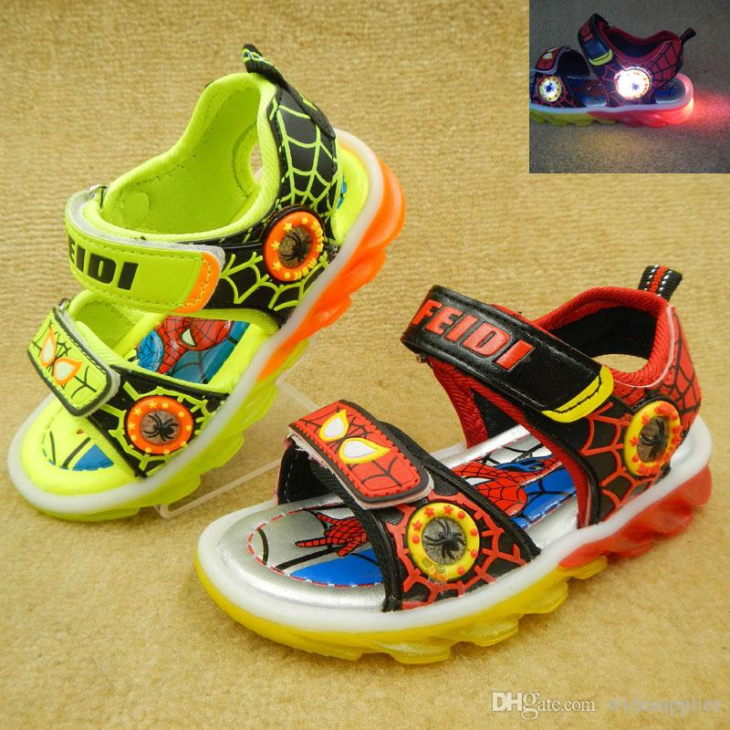 06893bb3525 2016 Carton LED Shoes Spider Man Kids Shoes Big Boys Shoes Kids Sandals  Size 31 36 1 = Cheap Boys Sneakers Toddler Boys Shoes Sale From  Widesupplier, ...