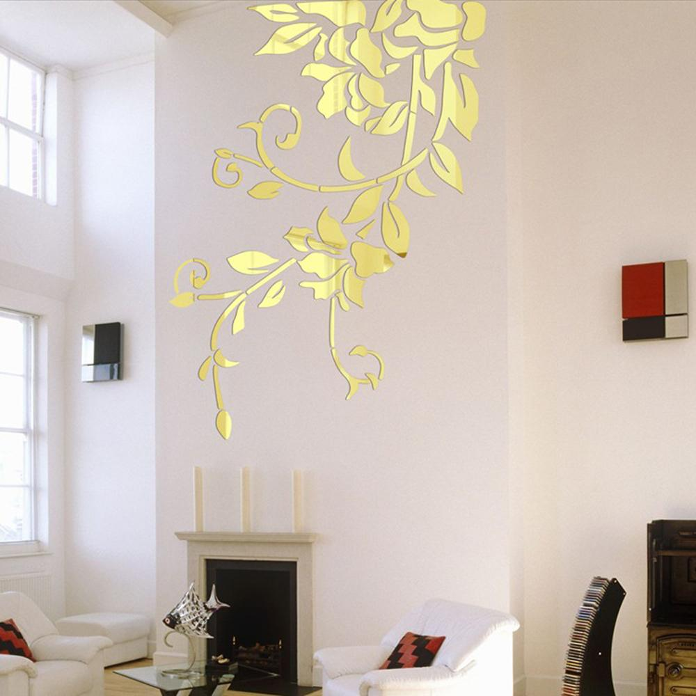140*81cm Diy Acrylic Mirror Wall Stickers Home Decor Wall Decals Decoration  Mirror Defoliation Flower Vine Stickers Mural Decorative Window Stickers  Design ...