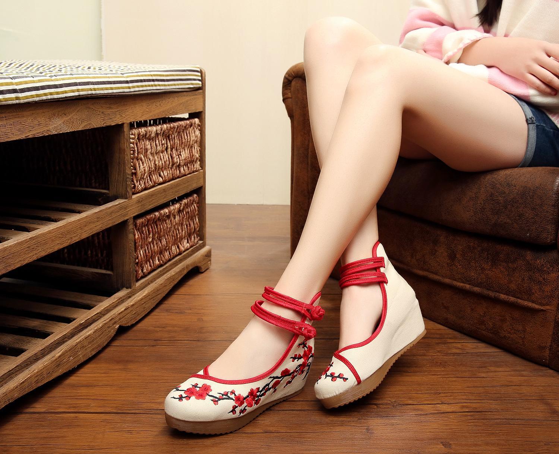 2016 Primavera Mulher Plum Flor Bordado Calçados Casuais Mulheres Calçados de Lona Calçados Crescentes Bailarinas Sapatos Peking Old Peking