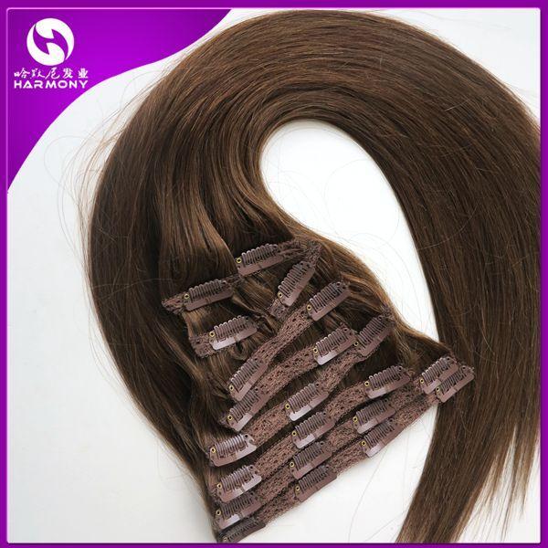 120g 100% Brezilyalı Klip Saç Uzantıları Klip Düz Saç Tam Başkanı Set Saç # 6 Renk