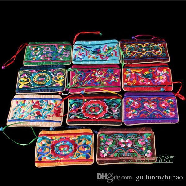 Carino etnici ricamato Zip Borse piccole Campana Gioielleria sacchetto del regalo Borse Decoratiing Cina Tessuto raso borsa della moneta del sacchetto della carta di credito della cassa del supporto
