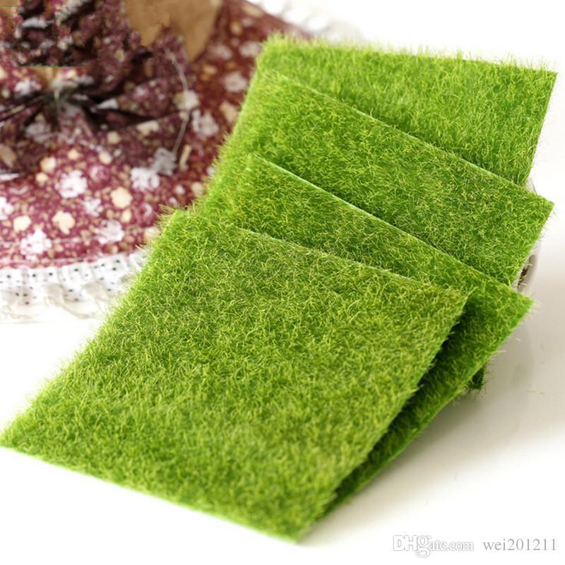 Artificial grass lawn 15 15cm fairy garden miniature gnome for Artificial grass decoration crafts