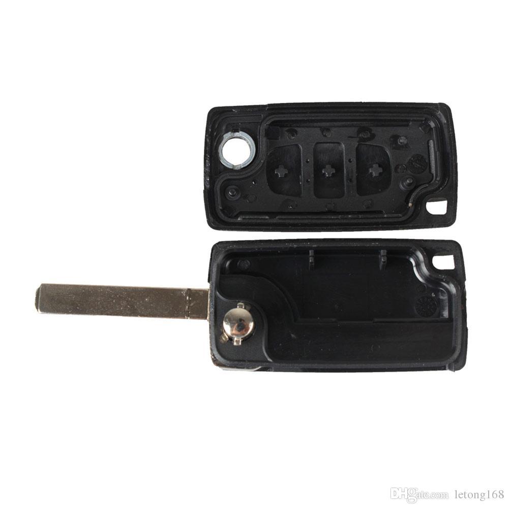 Garantili% 100% 3 Düğme Katlanır Anahtar Kabuk Uzaktan Anahtar Fob Vaka Araba CITROEN C3 C4 C5 C6 Ücretsiz Nakliye