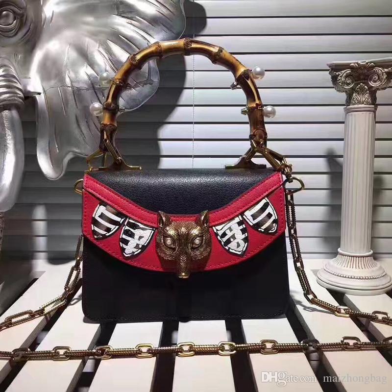 150bf0a2477 2017 New fashion Fox head designers handbags brands names bamboo handles  metal rivets cow genuine leather beautiful chain messenger bags