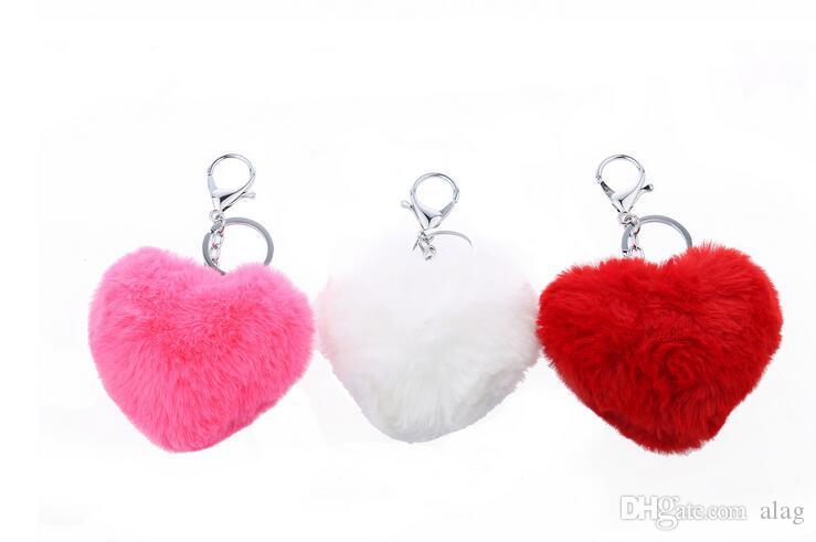 2016 Fashion Cute Rabbit Fur Ball Keychains 3D Car Rhinestone Key Chain Metal Key Rings Accessories Women Keyrings Bag Charm Pendant QLK200
