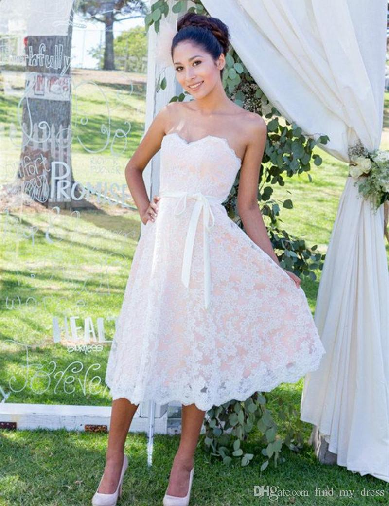New Simple Design Short Lace Wedding Dress Strapless Ribbon Sash A Line Tea Length Top Quality Bridal Gowns Custom Made