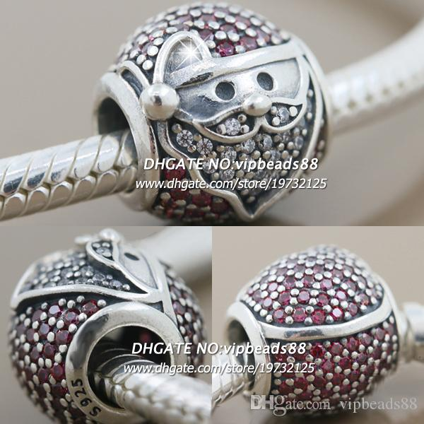 New 2017 Winter S925 Sterling Silver Santa Claus Red CZ Charm beads For Pandora charm Bracelets Beads & Jewelry Making